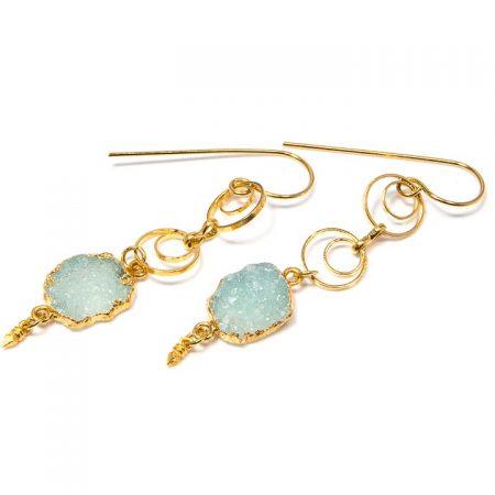 891208E Green Druzy Chalcedony on Gold Chain Earrings by La Isla Jewelry