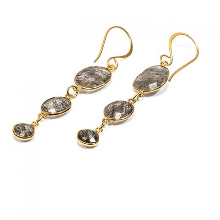 672244E Triple Tier Tourmilated Quartz Gold Drop Earrings by La Isla Jewelry