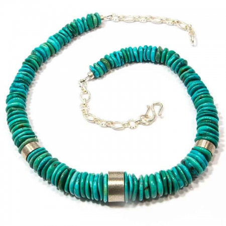 Blue Turquoise Disc Silver Necklace