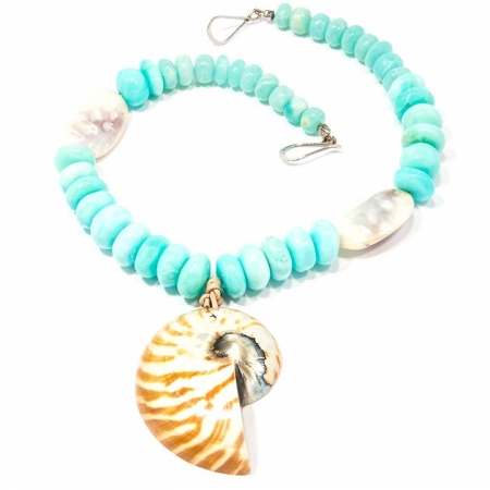 Tropical Peruvian Opal Nautilus Shell Necklace