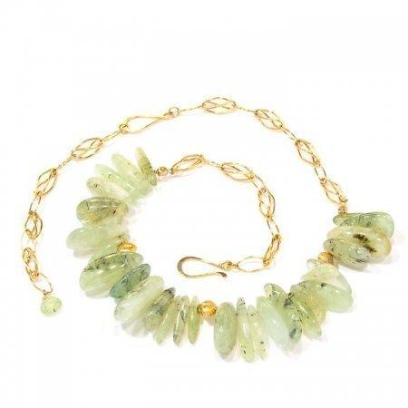 Prehinite Nugget Gold Chain Necklace
