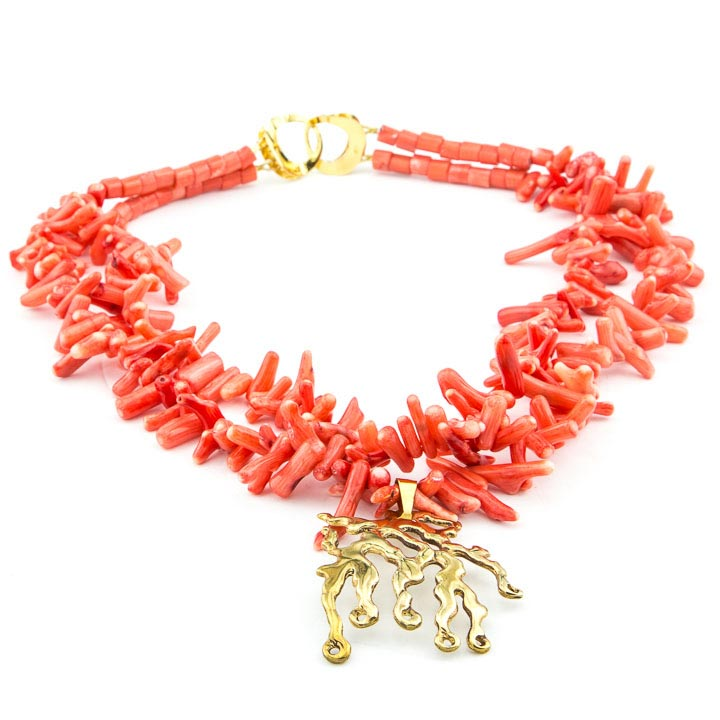 Coral necklace with seaweed pendant la isla jewelry coral necklace with seaweed pendant mozeypictures Image collections