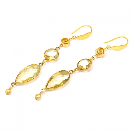 Lemon Quartz Gold Dangle Earrings