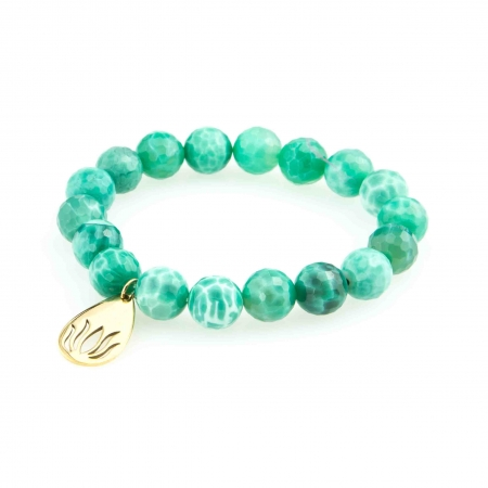 Green Fire Agate Charm Bracelet