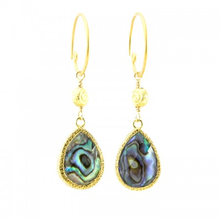 Tropical Gold Bezeled Abalone Statement Drop Earrings by La Isla Jewelry