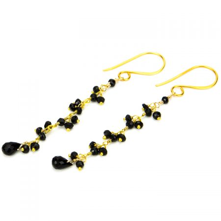 Black Spinel Drop Earrings by La Isla Jewelry
