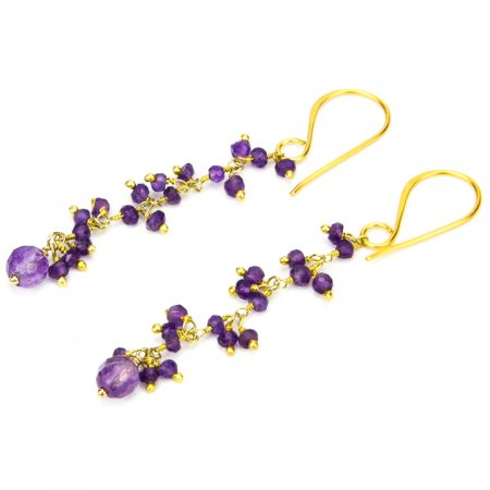 Amethyst Gold Chain Earrings by La Isla Jewelry