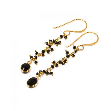 884217E Black Spinel Gold Dangle Earrings by La Isla Jewelry