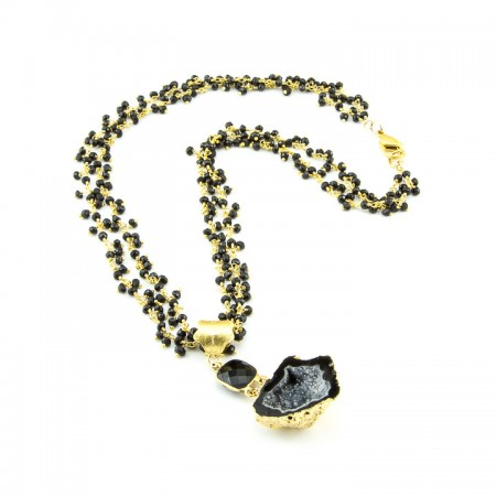 Black Geode Pendant and Spinel Gemstone Gold Chain Necklace