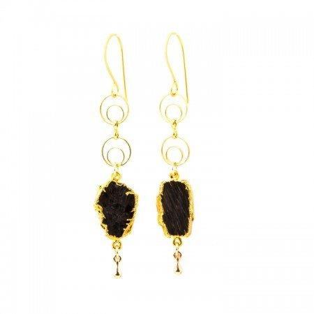 Hanging View Hypersthene Slice Gold Chain Earrings by La Isla Jewelry