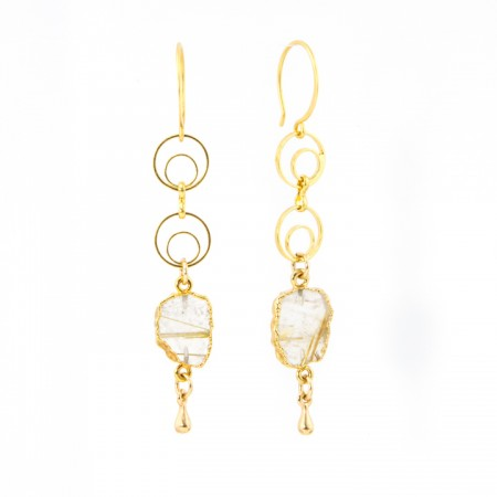Hanging View Rutilated Quartz Slice Gold Chain Earrings by La Isla Jewelry