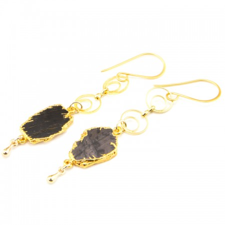 Hypersthene Slice Gold Chain Earrings by La Isla Jewelry