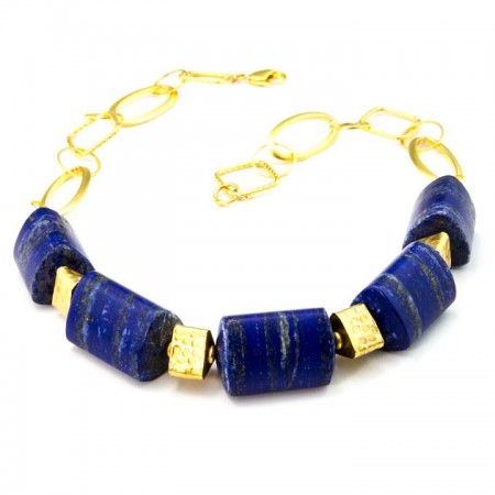 660152N Blue Lapis Prism Necklace by La Isla Jewelry