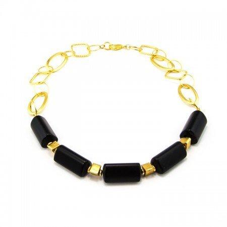 660153N Black Onyx Gold Chain Necklace by La Isla Jewelry