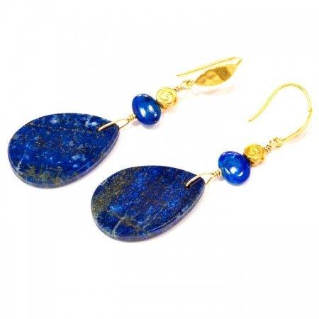 Blue Lapis Slab Gold Earrings by La Isla Jewelry