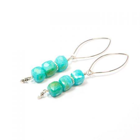 891116E Blue Peruvian Opal Silver Earrings by La Isla Jewelry
