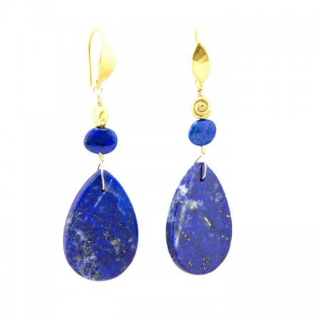 Hanging View Blue Lapis Slab Gold Earrings by La Isla Jewelry