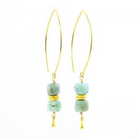 Hanging View Peruvian Opal Dangle Earrings by La Isla Jewelry