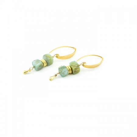 Peruvian Opal Gold Earrings by La Isla Jewelry