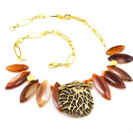 Marquis Carnelian with Brass Coral Patterned Pendant and Gold Chain by La Isla Jewelry