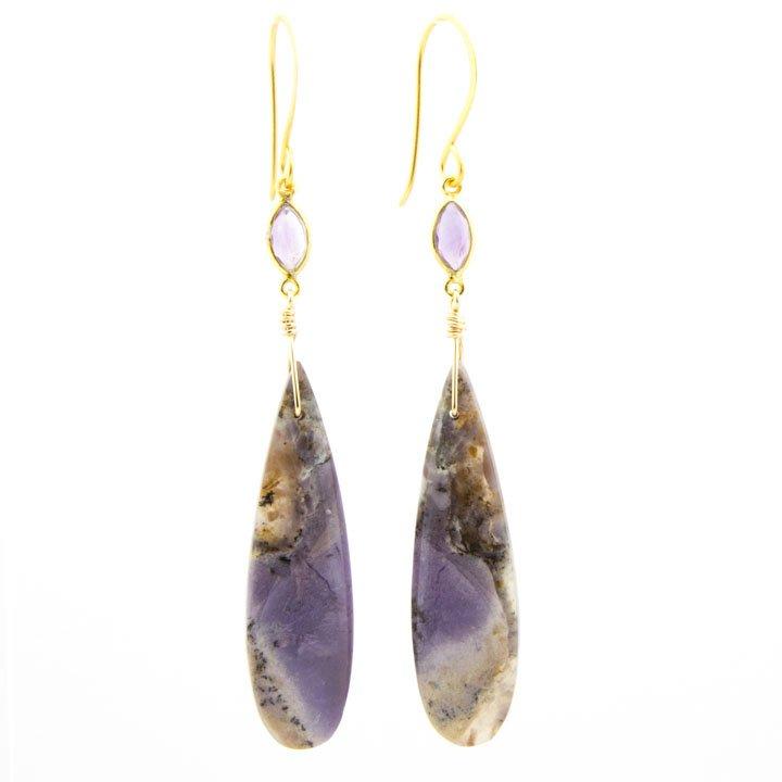 Sage Amethyst Teardrop Earrings