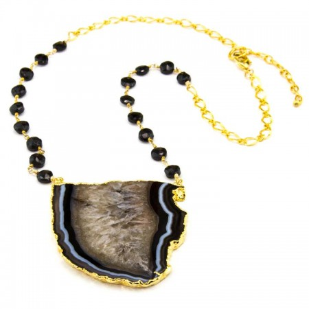 863202N Striped Black Agate Pendant on Spinel Chain by La Isla Jewelry