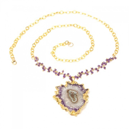 Starburst Amethyst Stalactite Gold Chain Necklace