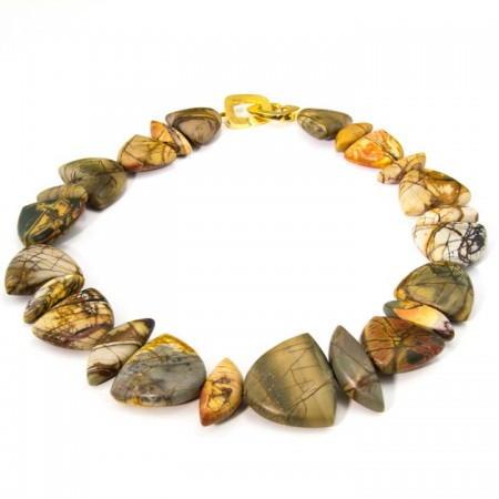 964201N Half Moon Picasso Jasper Necklace by La Isla Jewelry