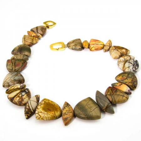 964201N Picasso Jasper Necklace with Half Moon Facet Stones by La Isla Jewelry