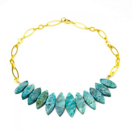 655270N Natural Chrysocolla Necklace on Gold Chain Backside by La Isla Jewelry