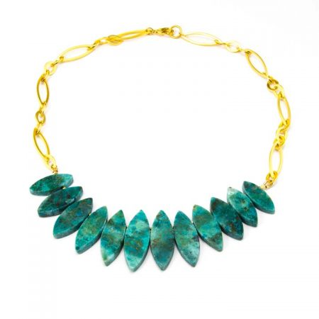655270N Natural Chrysocolla Necklace on Gold Chain by La Isla Jewelry