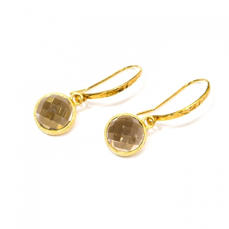 Smokey Quartz Gold Drop Earrings