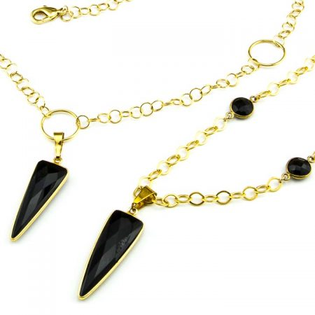 853275N 853276N Close Up Black Onyx Dagger Pendants by La Isla Jewelry