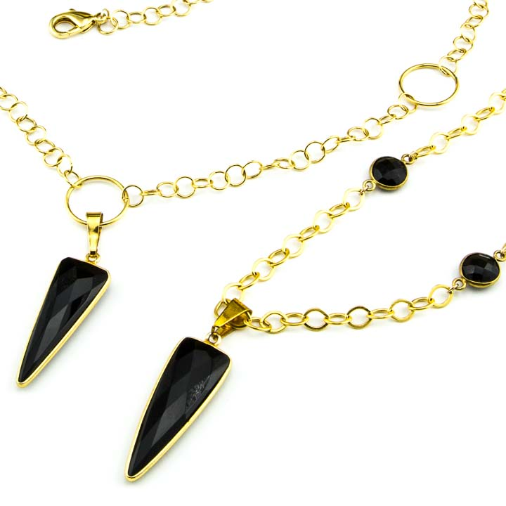 Black onyx dagger chains la isla jewelry 853275n 853276n close up black onyx dagger pendants by la isla jewelry aloadofball