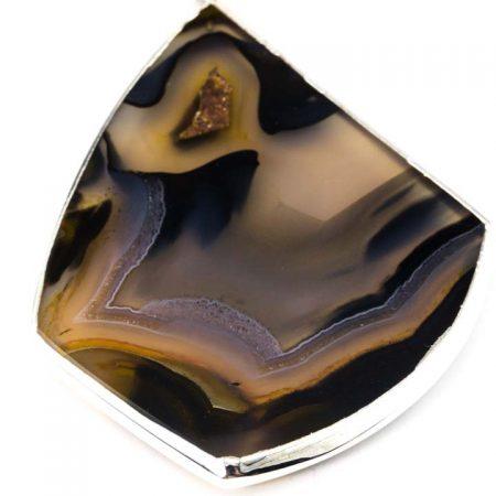 863102N Close Up Silver Bezeled Agate Slice Pendant by La Isla Jewelry