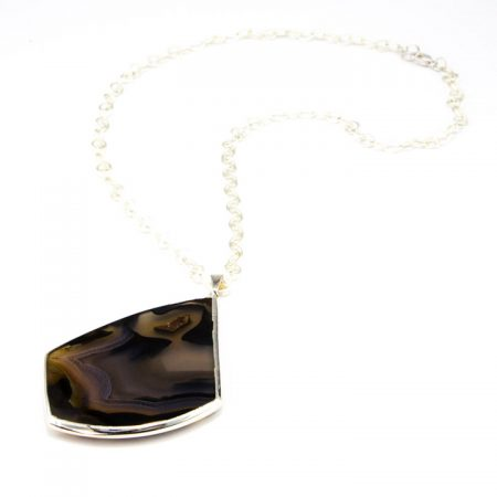 863102N Silver Bezeled Agate Slice Pendant Necklace by La Isla Jewelry