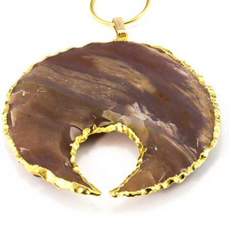 863206N Close Up Gold Edged Brown Jasper Pendant-by La Isla Jewelry