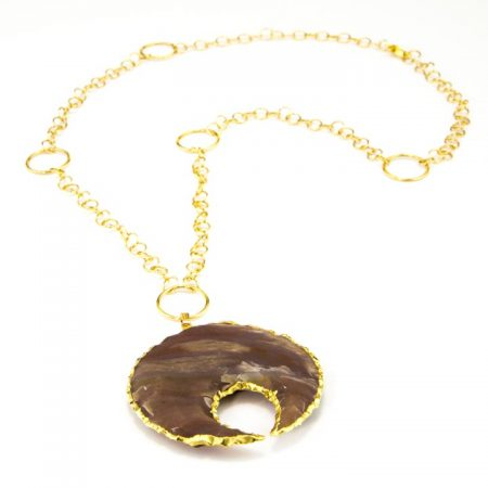 863206N Jasper Crescent Moon Pendant Necklace on Gold Fill Chain by La Isla Jewelry