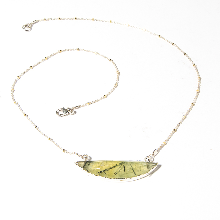 Half moon pendant chain collection la isla jewelry 873117n prehinite half moon pendant on silver chain by la isla jewelry aloadofball Images