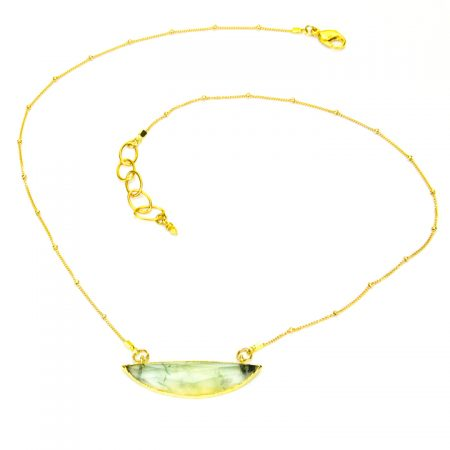 873213N Prehinite Half Moon Pendant on Gold Chain by La Isla Jewelry