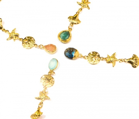 Tropical Gold Chain Gemstone Earrings Collection by La Isla Jewelry