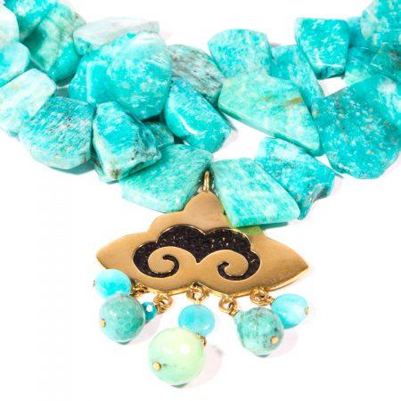 773126N Amazonite Slice Necklace Close Up