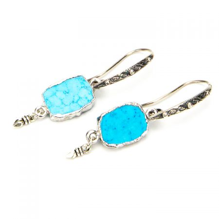 871102E Turquoise and Silver Dangles by La Isla Jewelry