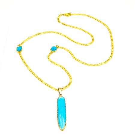 871204N Turquoise Dagger Pendant and Gold Chain by La Isla Jewelry