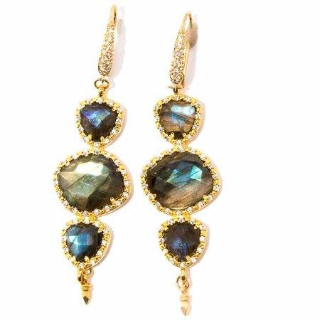 CZ Pave Set Labradorite Gold Dangle Earrings