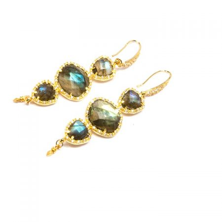 Multi Tier CZ Pave Set Labradorite Gold Dangle Earrings