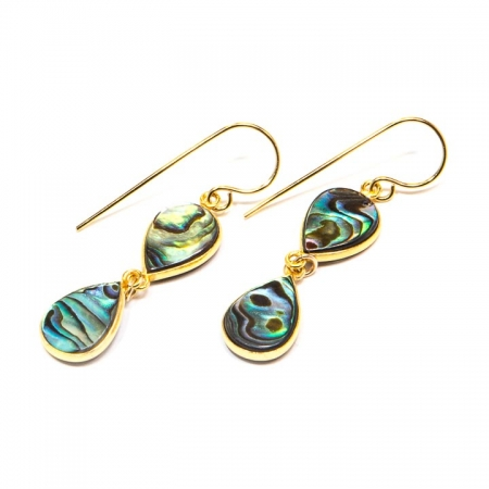 Abalone Gold Drop Earrings