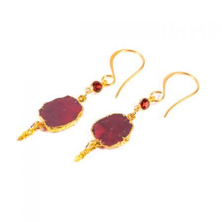 Garnet Slice Gold Earrings