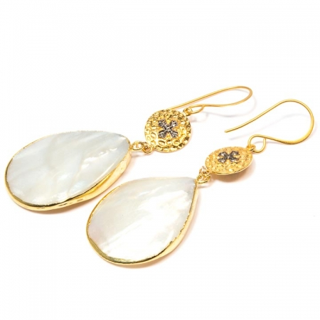 Mother of Pearl Gold Charm Drop Earrings