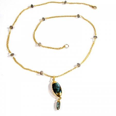 Labradorite Pendant Chain Necklace